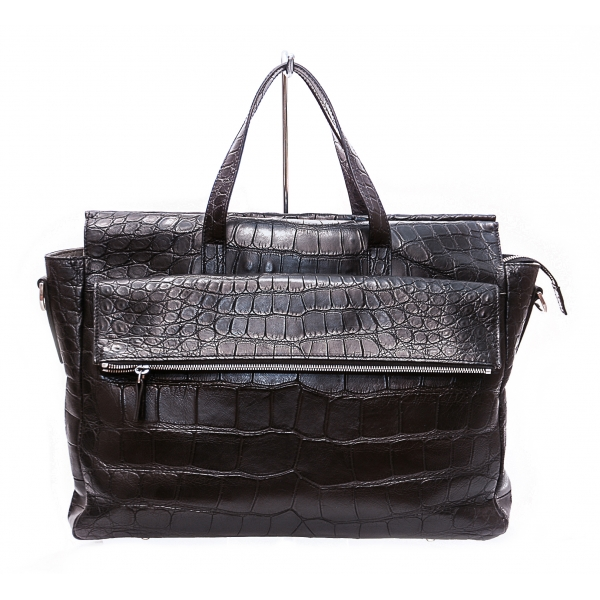 Vittorio Martire - Business Bag in Real Alligator Leather - Shiny Black - Italian Handmade Bag - Luxury High Quality