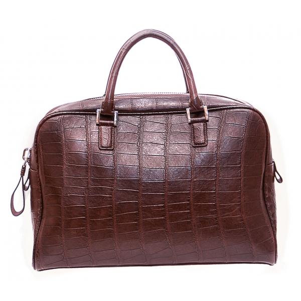 Vittorio Martire - Business Bag in Vera Pelle di Alligatore - Marrone - Borsa Artigianale Italiana - Alta Qualità Luxury