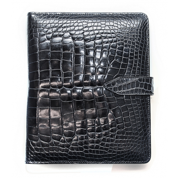 Vittorio Martire - Cover iPad in Real Crocodile Leather - Polished Black - Italian Handmade Cover - Luxury High Quality