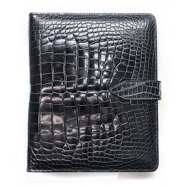 Vittorio Martire - Cover iPad in Vera Pelle in Coccodrillo - Nero Lucido - Cover Artigianale Italiana - Alta Qualità Luxury