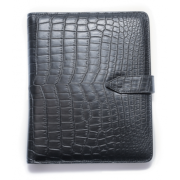 Vittorio Martire - Cover iPad in Real Crocodile Leather - Black - Italian Handmade Cover - Luxury High Quality