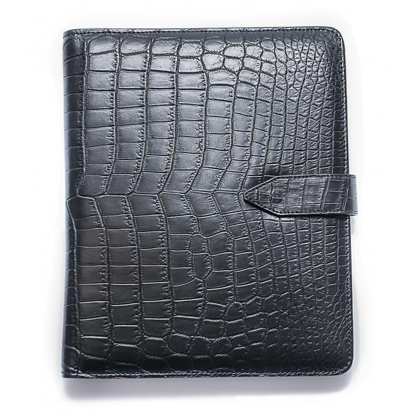 Vittorio Martire - Cover iPad in Vera Pelle in Coccodrillo - Nero - Cover Artigianale Italiana - Alta Qualità Luxury