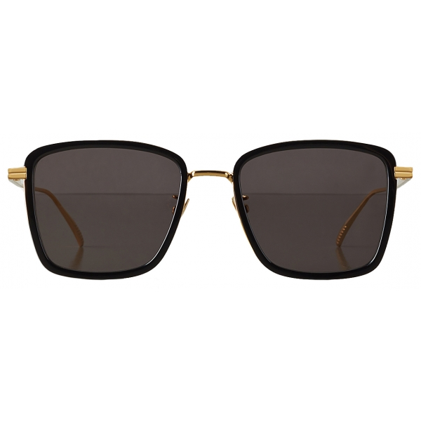 Bottega Veneta - Occhiali da Sole Rettangolare - Nero Oro - Occhiali da Sole - Bottega Veneta Eyewear