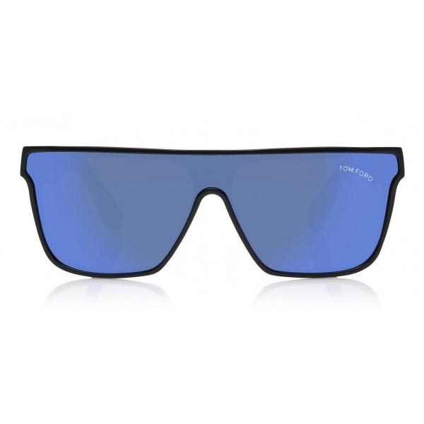 Tom Ford - Wyhat Sunglasses - Occhiali da Sole in Acetato Rettangolari - FT0709 - Nero Blu Specchiato - Tom Ford Eyewear