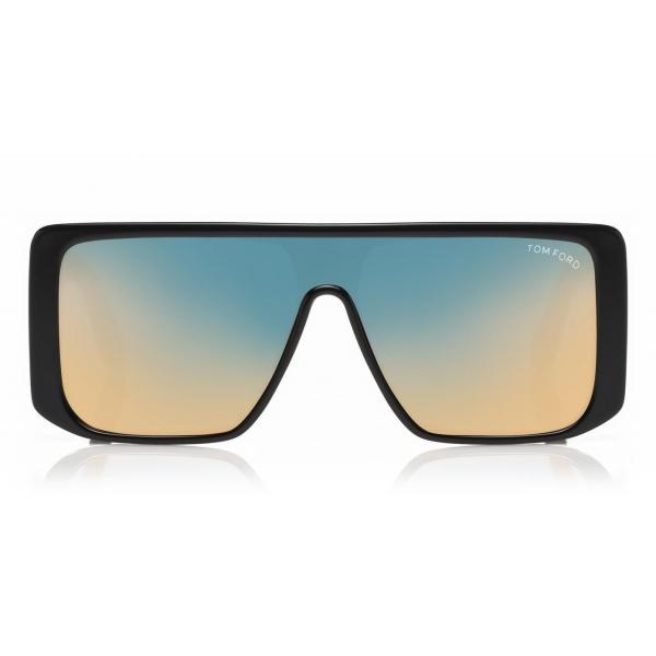 Tom Ford - Atticus Sunglasses - Occhiali da Sole in Acetato Oversize Rettangolari - FT0710 - Nero Oro - Tom Ford Eyewear
