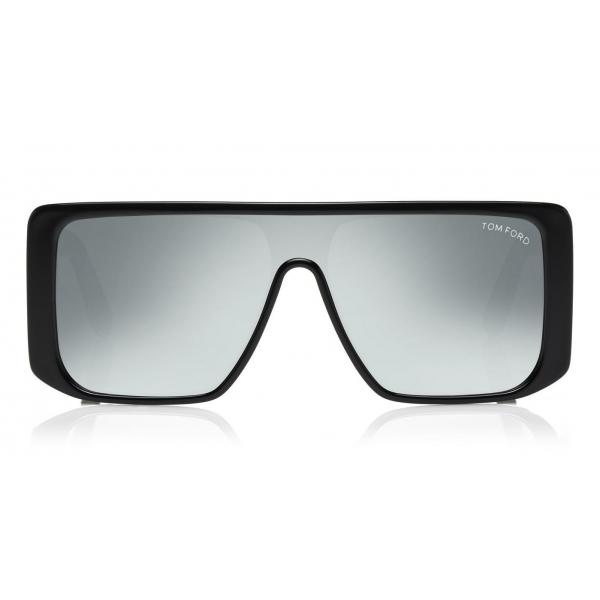 Tom Ford - Atticus Sunglasses - Occhiali da Sole in Acetato Oversize Rettangolari - FT0710 - Nero Specchiato - Tom Ford Eyewear