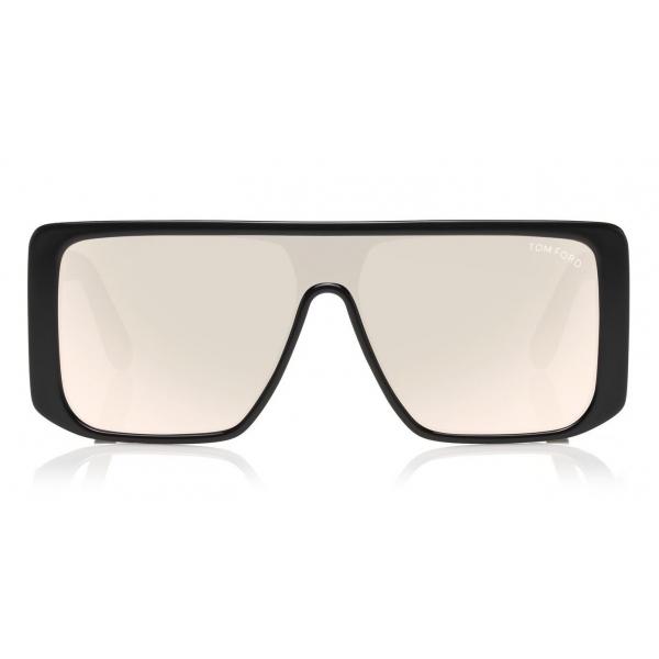 Tom Ford - Atticus Sunglasses - Occhiali da Sole in Acetato Oversize Rettangolari - FT0710 - Nero Fumo - Tom Ford Eyewear