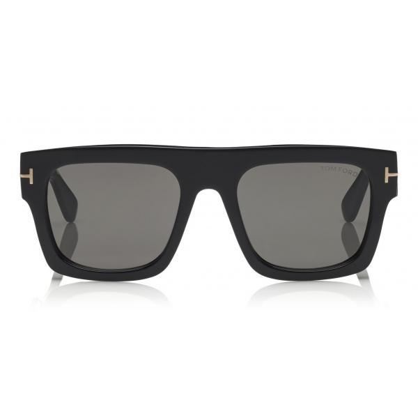 Tom Ford - Fausto Sunglasses - Occhiali da Sole in Acetato Rettangolari - FT0711 - Nero - Tom Ford Eyewear