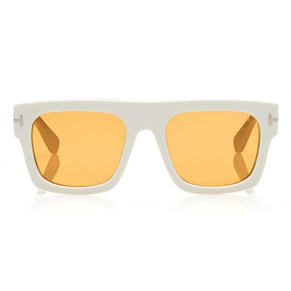 Tom Ford - Fausto Sunglasses - Occhiali da Sole in Acetato Rettangolari - FT0711 - Bianco - Tom Ford Eyewear