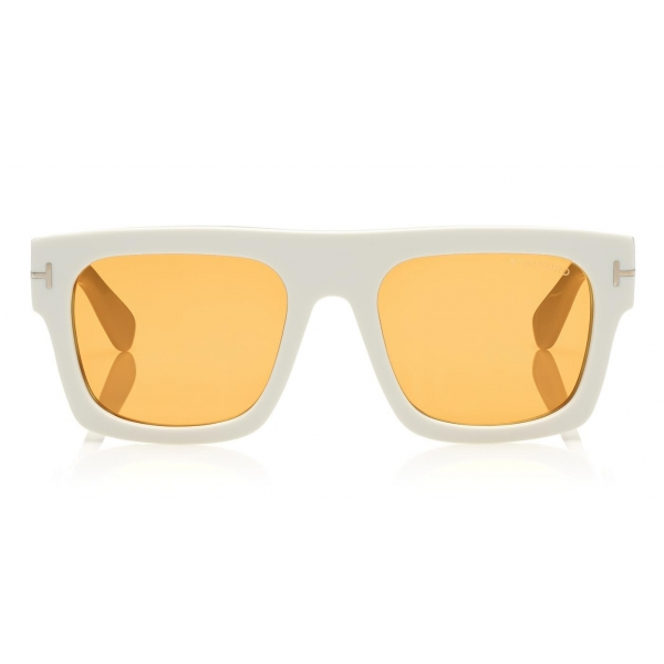 Tom Ford - Fausto Sunglasses - Soft Rectangular Acetate Sunglasses - FT0711 - White - Tom Ford Eyewear