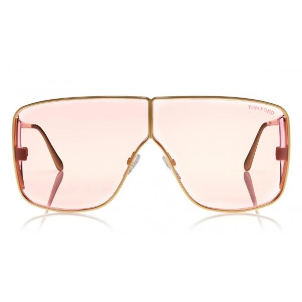 Tom Ford - Spector Sunglasses - Occhiali da Sole in Acetato Oversize Rettangolari - FT0708 - Rosa - Tom Ford Eyewear