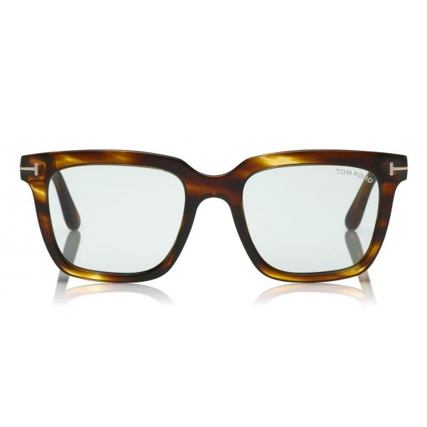 Tom Ford - Fausto Sunglasses - Occhiali da Sole in Acetato Rettangolari - FT0646 - Havana - Tom Ford Eyewear