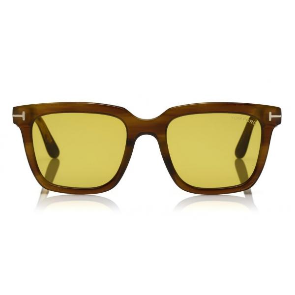 Tom Ford - Fausto Sunglasses - Occhiali da Sole in Acetato Rettangolari - FT0646 - Marrone - Tom Ford Eyewear