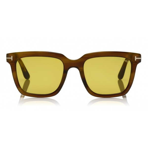 Tom Ford - Fausto Sunglasses - Soft Rectangular Acetate Sunglasses - FT0646 - Brown - Tom Ford Eyewear