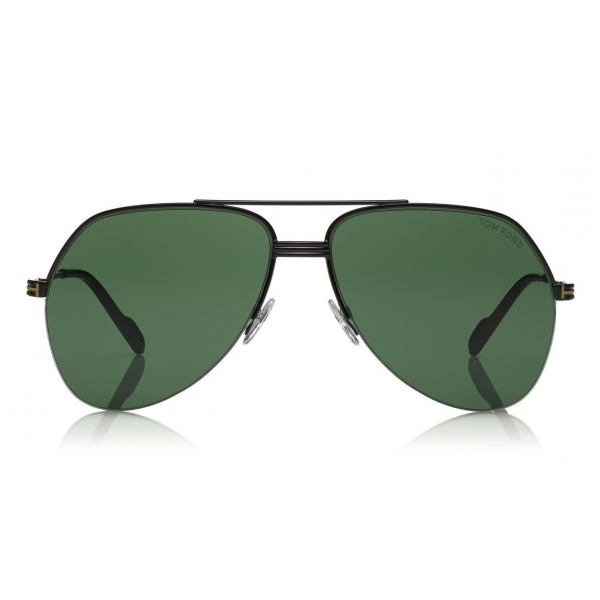 Tom Ford - Wilder Sunglasses - Occhiali da Sole Pilot in Acetato - FT0644 - Nero Verde - Tom Ford Eyewear
