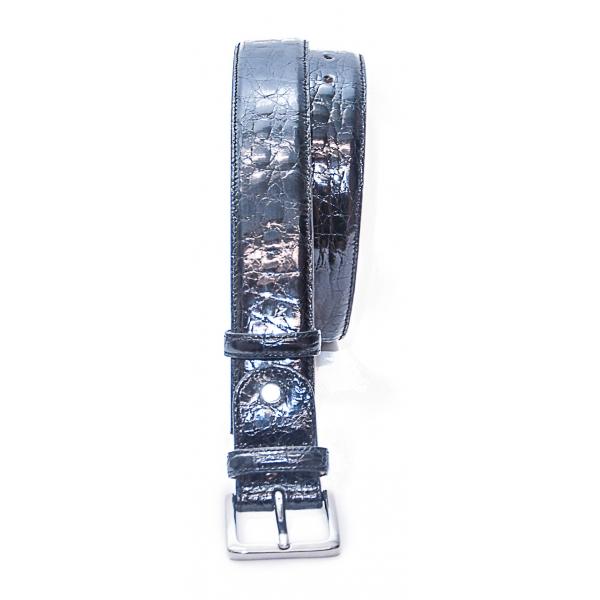 Vittorio Martire - Belt in Real Crocodile Leather - Black - Italian Handmade - High Quality Luxury