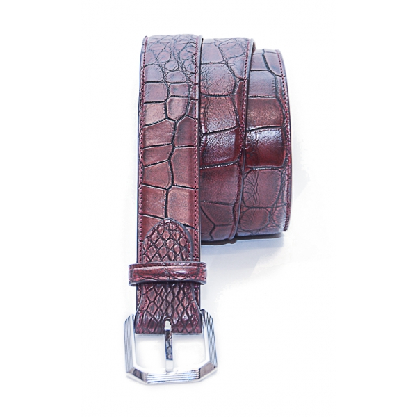 Vittorio Martire - Belt in Real Crocodile Leather - Bordeaux - Italian Handmade - High Quality Luxury