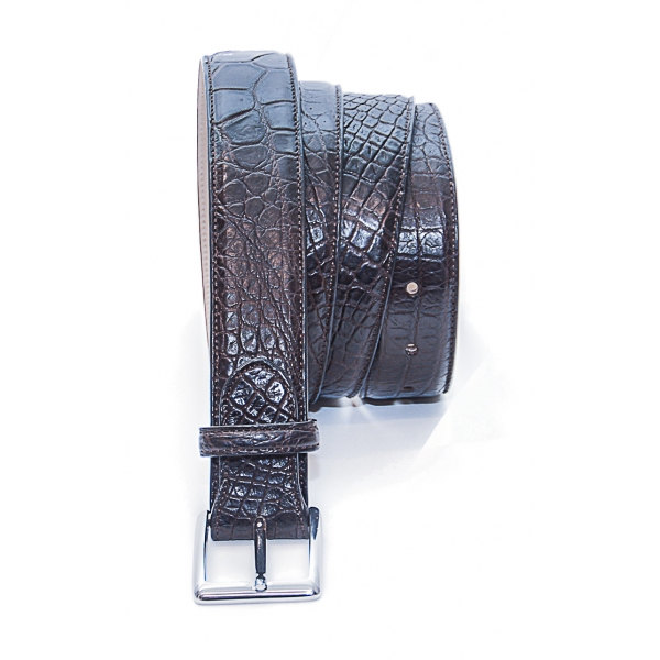 Vittorio Martire - Belt in Real Crocodile Leather - Dark Brown - Italian Handmade - High Quality Luxury