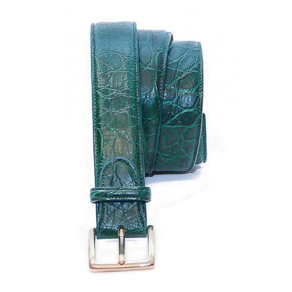 Vittorio Martire - Belt in Real Crocodile Leather - Green - Italian Handmade - High Quality Luxury
