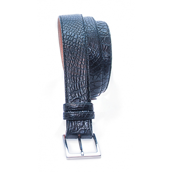 Vittorio Martire - Belt in Real Crocodile Leather - Black - Italian Handmade - High Quality Luxury