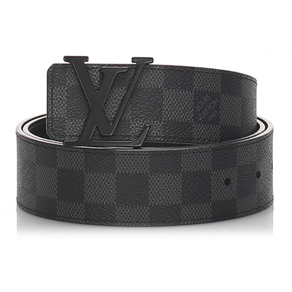 Louis Vuitton Vintage - Damier Graphie Initiales Belt - Black Gray - Leather Belt - Luxury High Quality