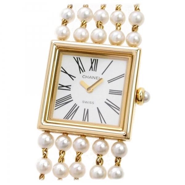 Chanel Vintage - Mademoiselle Pearl Watch - Perle Bianche e Oro Giallo - Orologio di Perle Chanel - Alta Qualità Luxury