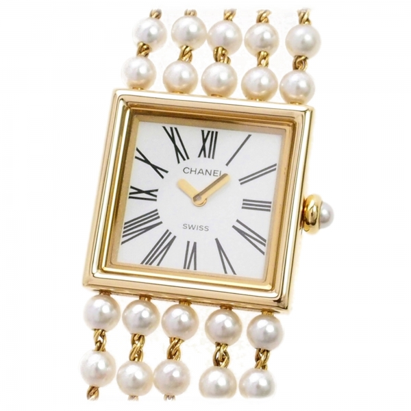 Chanel Vintage - Mademoiselle Pearl Watch - White Pearl & Yellow Gold - Pearl Watch Chanel - High quality Luxury
