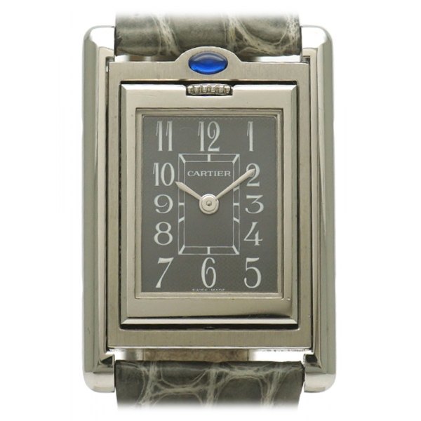 Cartier Vintage - Stainless Steel Tank Basculante Quartz Watch W1011158 - Orologio Cartier Grigio - Alta Qualità Luxury