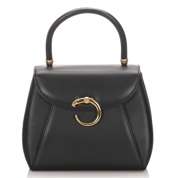 Cartier Vintage - Panthere Leather Handbag - Black - Cartier Handbag in Leather - Luxury High Quality