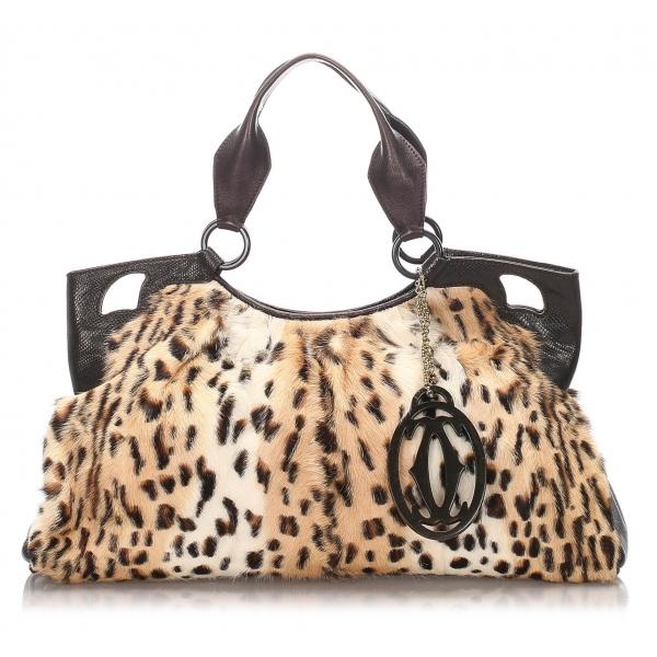 Cartier Vintage - Mink Fur Marcello de Cartier Tote - Brown Beige - Cartier Handbag in Leather - Luxury High Quality
