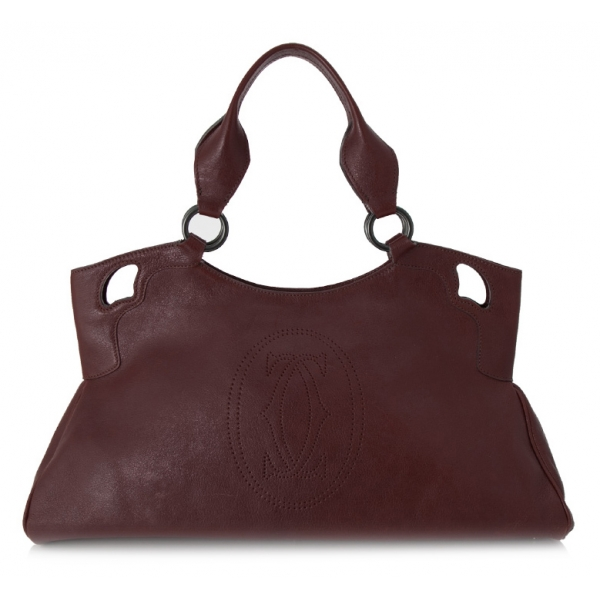 Cartier Vintage - Marcello de Cartier Leather Handbag - Red Burgundy - Cartier Handbag in Leather - Luxury High Quality