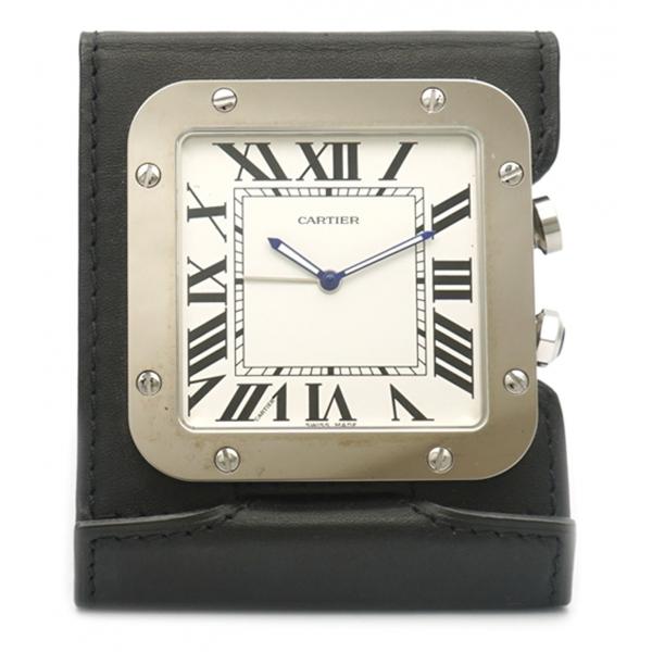 Cartier Vintage - Santos de Cartier Travel Alarm Clock - Nero Argento - Sveglia Cartier in Acciaio - Alta Qualità Luxury