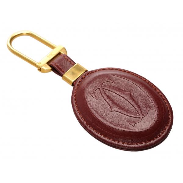 Cartier Vintage - Must de Cartier Key Chain - Bordeaux Oro - Portachiavi Cartier in Pelle - Alta Qualità Luxury