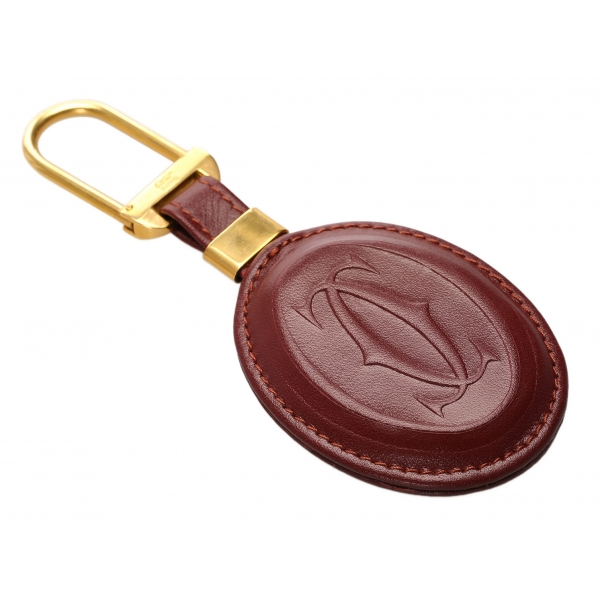 Cartier Vintage - Must de Cartier Key Chain - Burgundy Gold - Cartier Keychain in Leather - Luxury High Quality