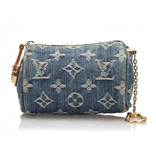 Louis Vuitton Vintage - Monogram Denim Trousse Speedy PM Bag - Denim - Leather Trousse - Luxury High Quality