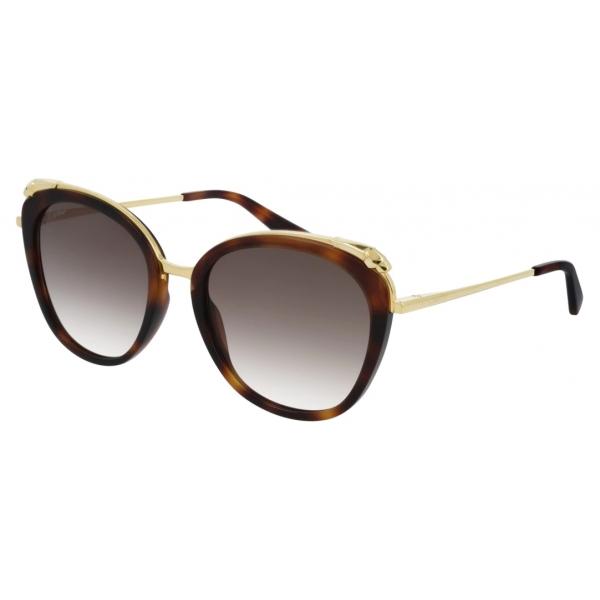 Cartier - Oval - Tortoiseshell Champagne Golden-Finish Metal Graduated Brown Lenses - Panthère de Cartier - Cartier Eyewear