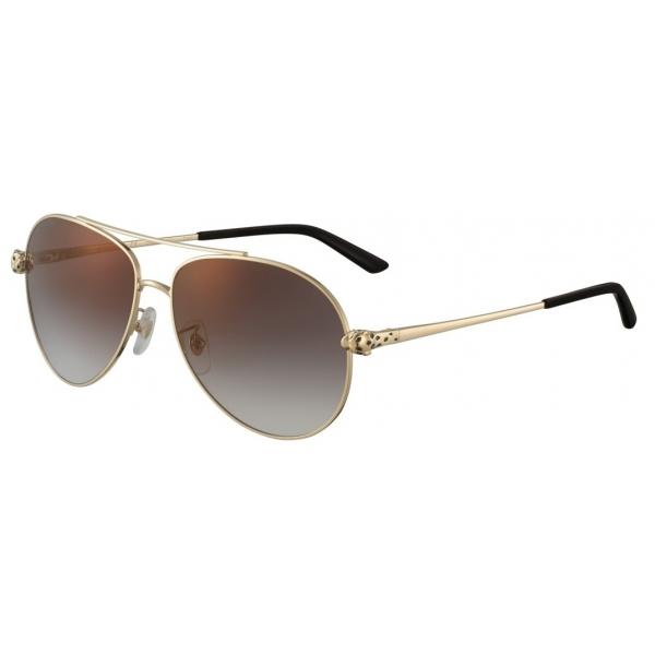 Cartier - Pilot - Golden-Finish Metal Graduated Grey Lenses - Panthère de Cartier - Sunglasses - Cartier Eyewear