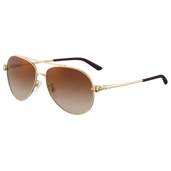 Cartier - Pilot - Golden-Finish Metal Graduated Brown Lenses - Panthère de Cartier - Sunglasses - Cartier Eyewear