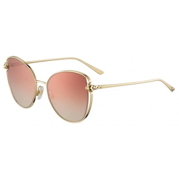 Cartier - Butterfly - Golden-Finish Metal Graduated Burgundy Lenses - Panthère de Cartier - Sunglasses - Cartier Eyewear