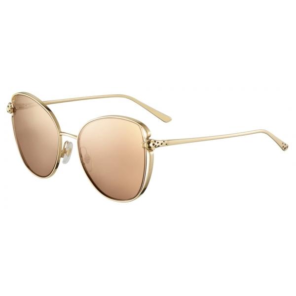 Cartier - Farfalla - Metallo Finitura Oro Lucida Lenti Rosa - Panthère de Cartier - Occhiali da Sole - Cartier Eyewear