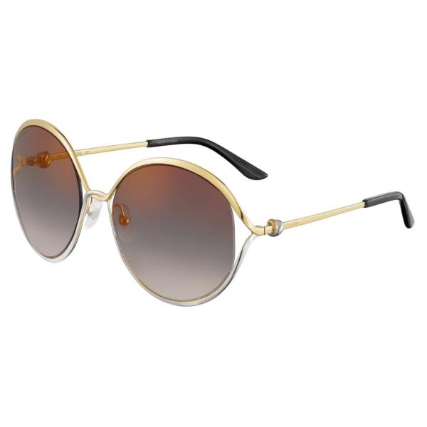 Cartier - Rotonda - Metallo Finitura Oro Platino Lucida Lenti Grigie - Trinity Collection - Occhiali da Sole - Cartier Eyewear