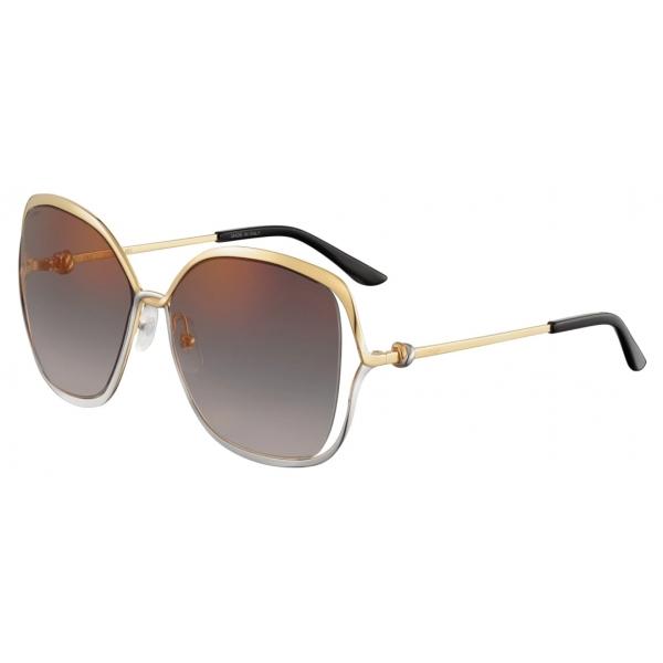 Cartier - Round - Golden-Finish Platinum-Finish Metal Graduated Grey Lenses - Trinity Collection - Sunglasses - Cartier Eyewear