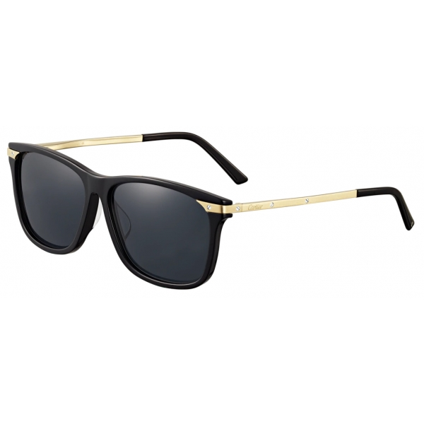Cartier - Quadrata - Metallo Finitura Oro Platino Lucida Lenti Grigie - Trinity Collection - Occhiali da Sole - Cartier Eyewear