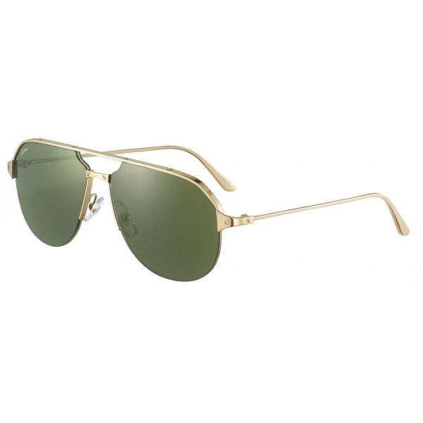 Cartier - Pilot - Brushed Golden-Finish Metal Green Lenses - Santos de Cartier - Sunglasses - Cartier Eyewear