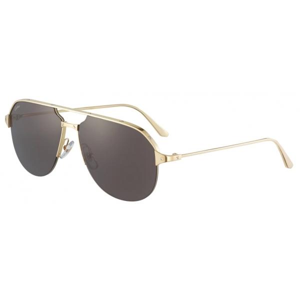 Cartier - Pilota - Metallo Finitura Oro Lucida Spazzolata Lenti Grigie - Santos de Cartier - Occhiali da Sole - Cartier Eyewear