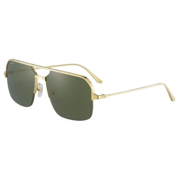 Cartier - Caravan - Metallo Finitura Oro Lucida Spazzolata Lenti Verdi - Santos de Cartier - Occhiali da Sole - Cartier Eyewear