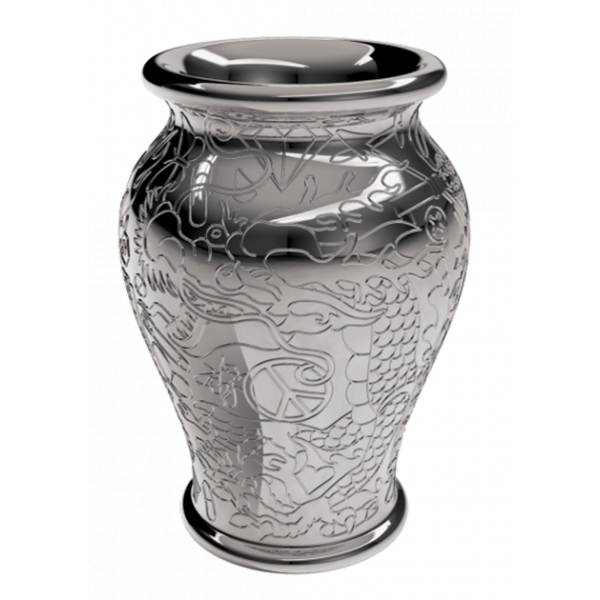 Qeeboo - Ming Planter and Champagne Cooler Metal Finish - Silver - Qeeboo Planter by Studio Job - Furnishing - Home