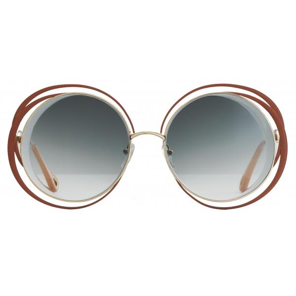 Chloé - Carlina Round Metal Sunglasses - Gold Terracotta - Chloé Eyewear