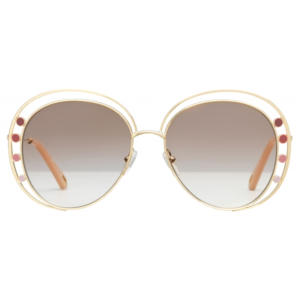 Chloé - Delilah Metal Aviator Sunglasses for Women - Gold Brown - Chloé Eyewear
