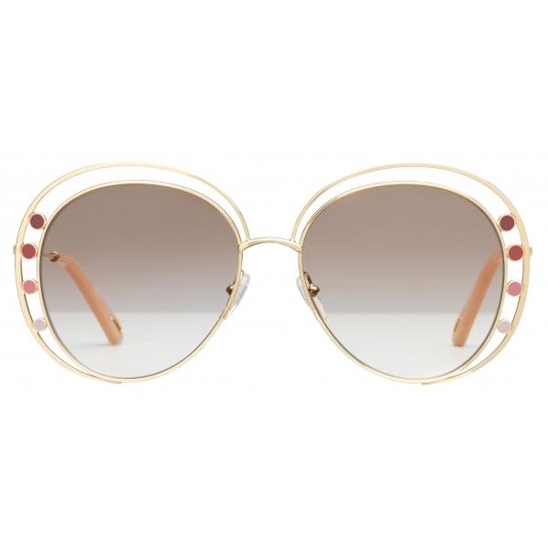 Chloé - Occhiali da Sole da Donna Aviatore Delilah in Metallo - Oro Marrone - Chloé Eyewear